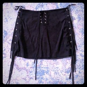 Suede black tassel skirt only worn once!